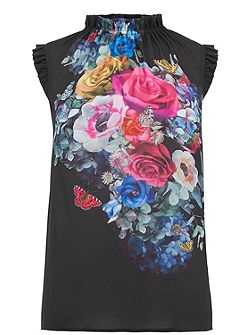 Floral And Fauna High Neck Top
