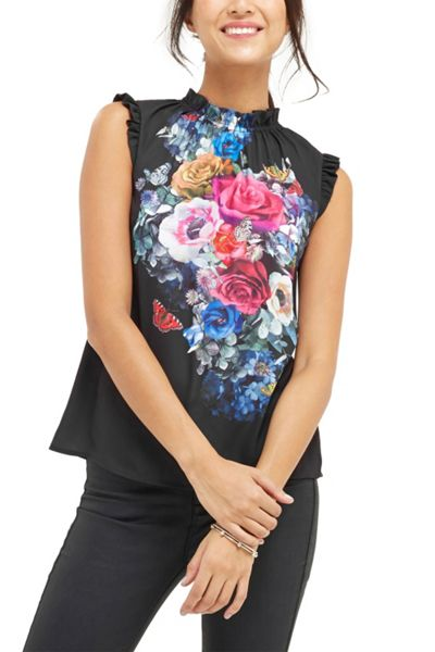 Oasis Floral And Fauna High Neck Top