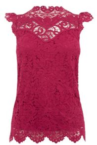 Oasis Lace Trim High Neck Top