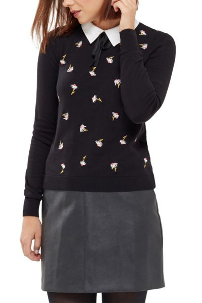 Oasis Annie Embroidered Collar Knit