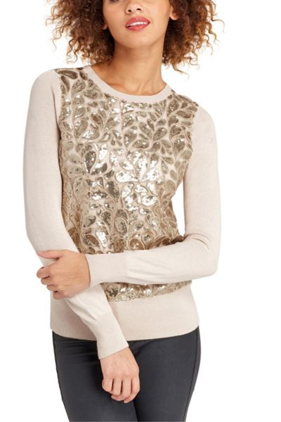 Oasis Lace And Sequin Front Top