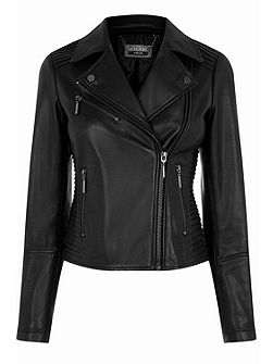 Leather Pleated Biker