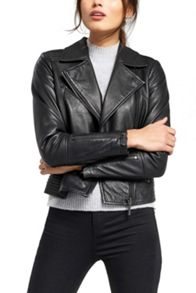 Oasis Leather Pleated Biker