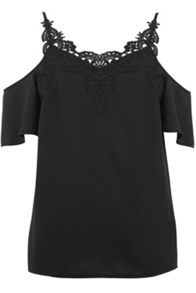 Oasis Lace Trim Cold Shoulder Top