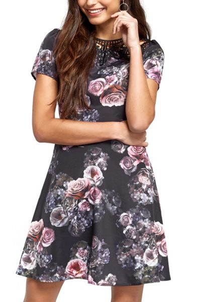 Oasis Gothic Bloom Lace Trim Skater