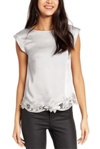 Oasis Satin Lace Trim Tee