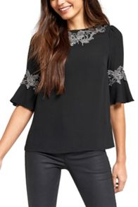Oasis Lace Fluted Sleeve Top