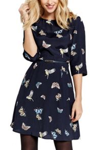 Oasis Butterfly & Bird Pleated Dress
