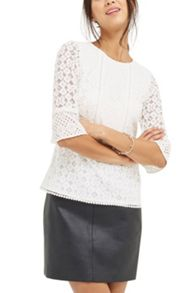 Oasis Kick Sleeve Patched Lace Top