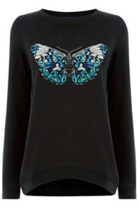 Oasis Embroidered Butterfly Sweat