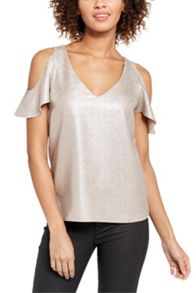 Oasis Metallic Cold Shoulder Top
