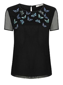 Trickle Butterfly Mesh Top