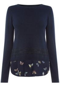 Oasis Enchanted Bird And Lace Top