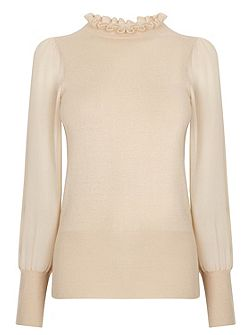 Frill Neck Sheer Sleeve Knit