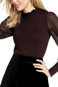 Oasis Frill Neck Sheer Sleeve Knit