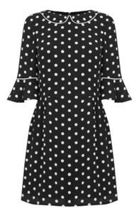 Oasis Spot Fluted Sleeve Dress