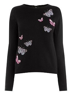 Embroidered Butterfly Jumper