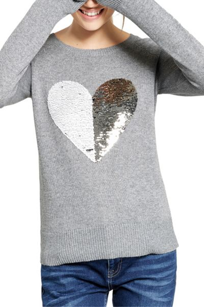 Oasis Sequin Heart Jumper