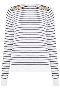 Oasis Coloured Embellished Stripe Top