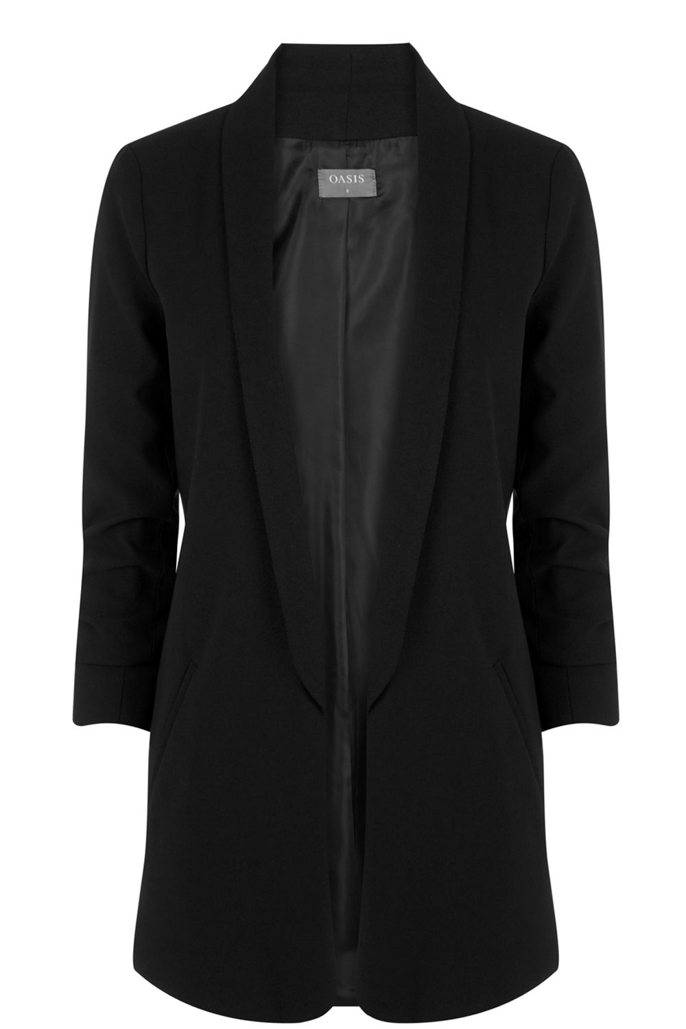 Oasis Ruched Sleeve Soft Blazer, Black