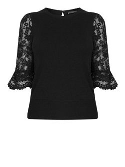 Lace Fluted Sleeve Knit
