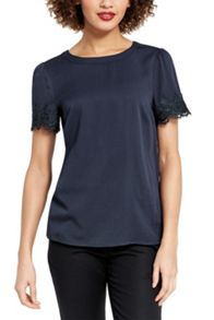 Oasis Lace Trim Viscose Tee