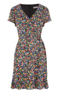 Oasis Ditsy Wrap Skater Dress