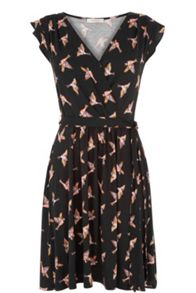 Oasis Susie Bird Wrap Skater Dress