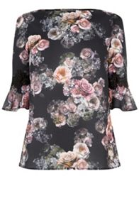 Oasis Gothic Bloom Flute Sleeve Top