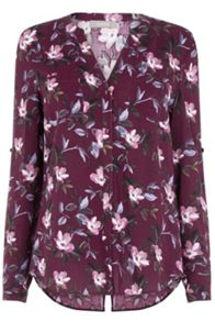 Oasis Painted Rose Collar Shirt