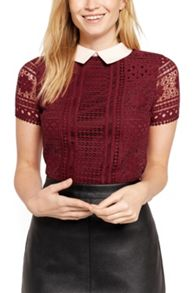 Oasis Lace Collared Tee