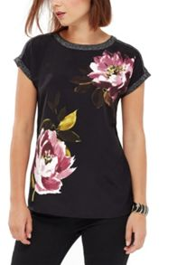 Oasis Painted Floral Woven Front Tee