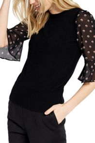 Oasis Spot Fluted Sleeve Knit