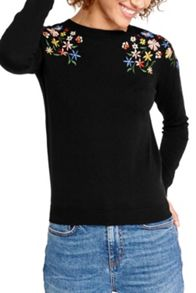 Oasis Forget Me Not Embroidered Knit