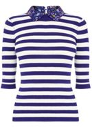 Oasis Stripe And Printed Collar Knit
