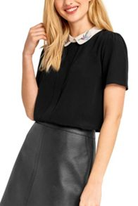 Oasis Embroidered Bird Collar Top