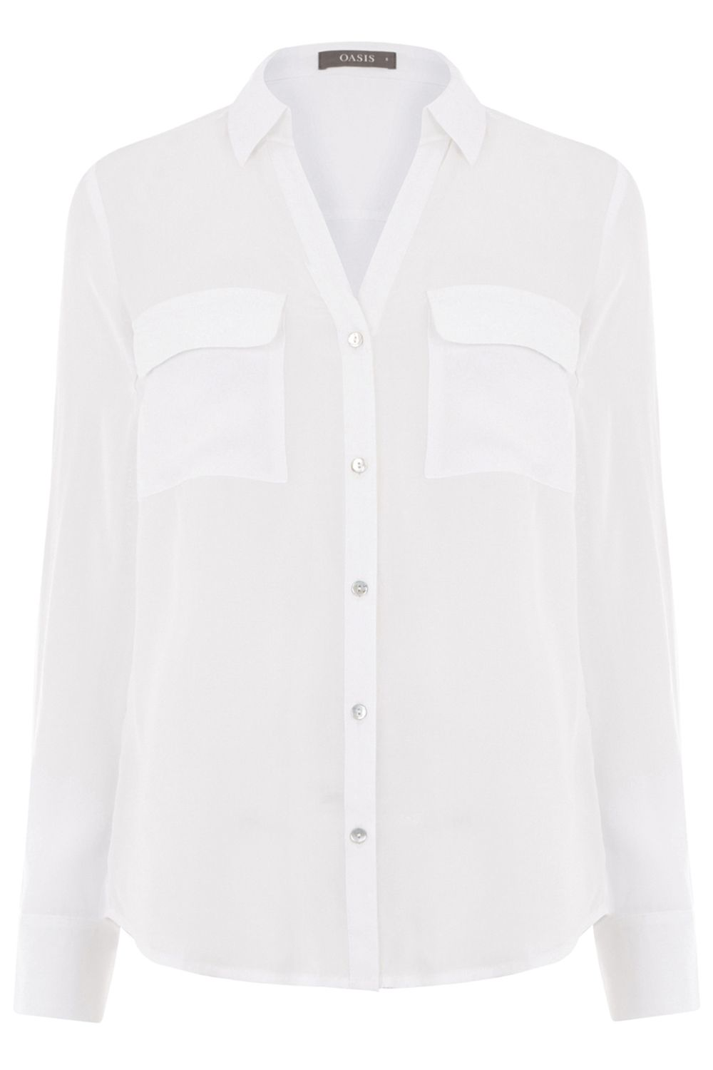 Oasis Viscose Wrap Back Shirt, White