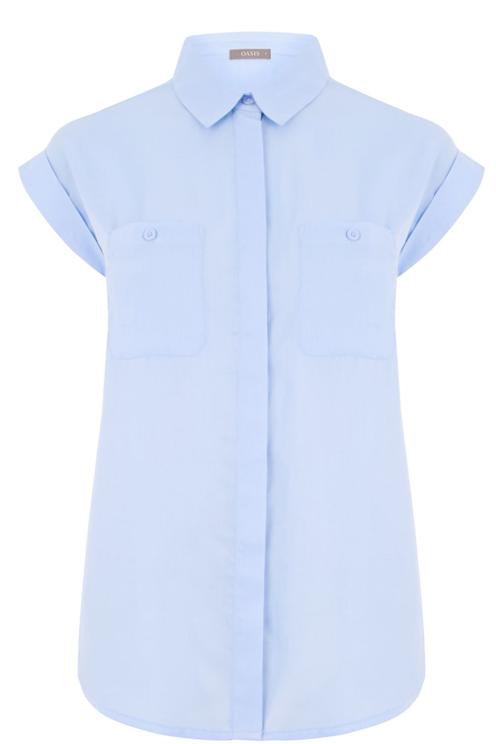 Oasis Short Sleeve Viscose Shirt, Light Blue