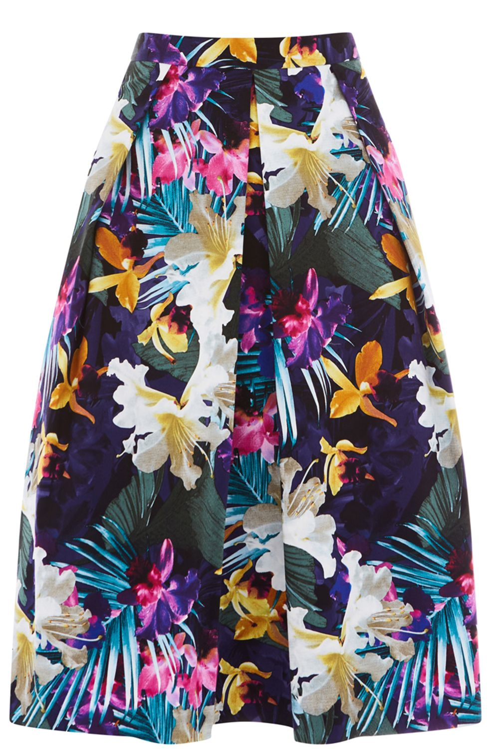 Oasis Tropical Midi Skirt, Blue