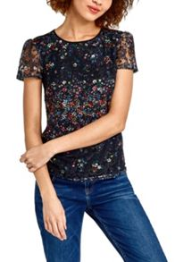 Oasis Fading Daisy Lace Print Tee