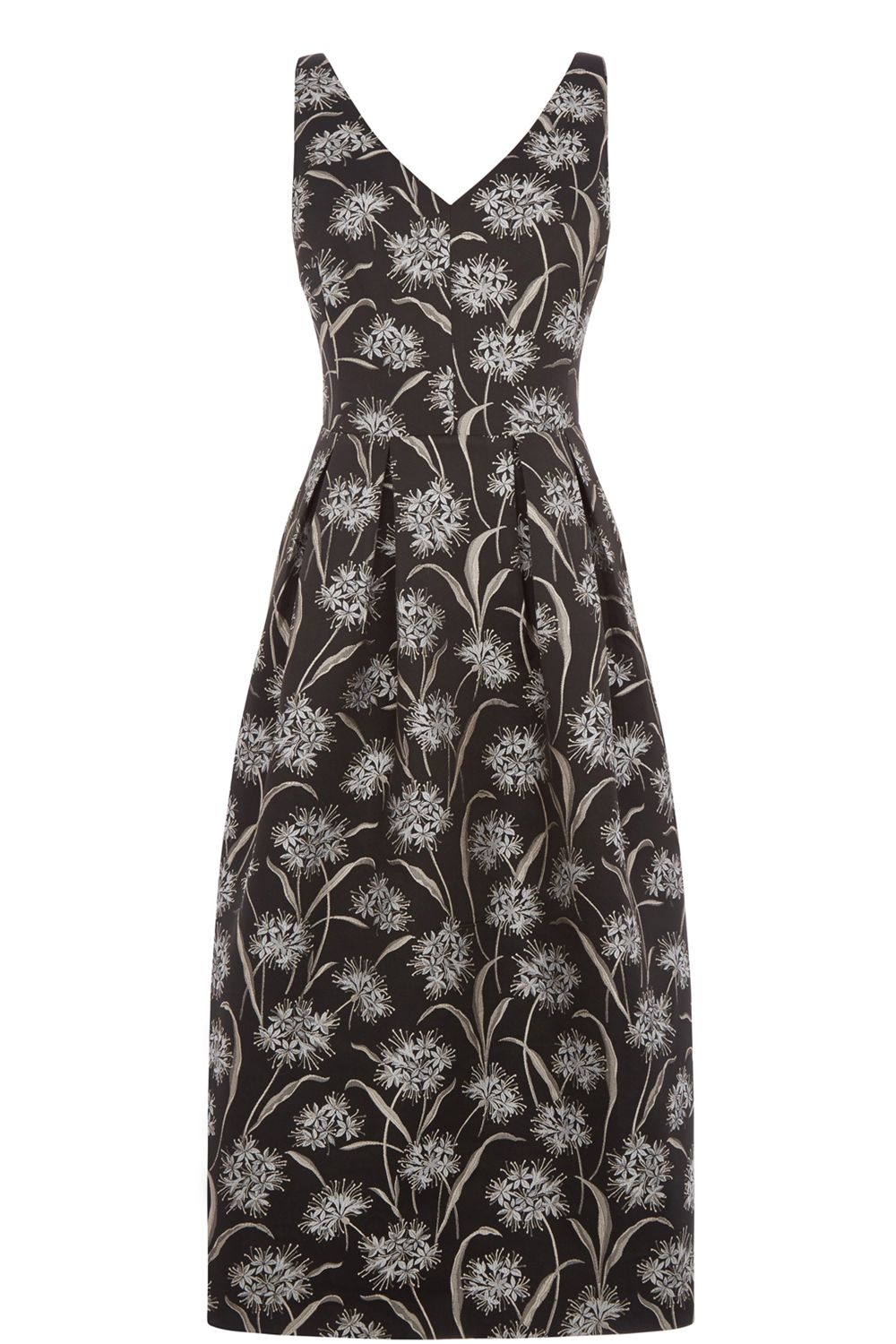 Oasis Dandelion Jacquard Midi Dress, Black