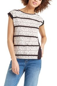 Oasis Floral Wiggle Lace Stripe Tee