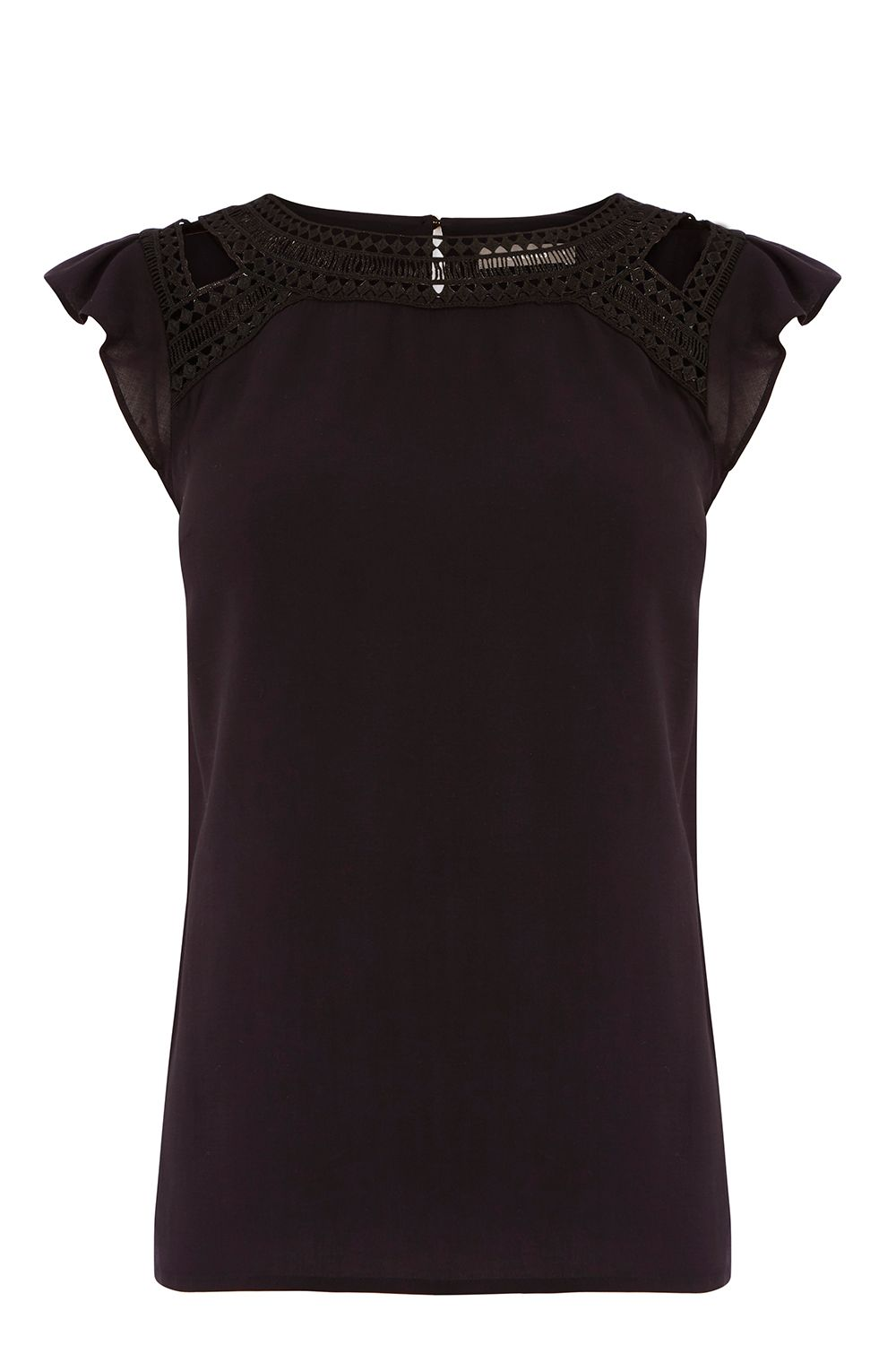 Oasis AZTEC LACE TRIM TEE, Black