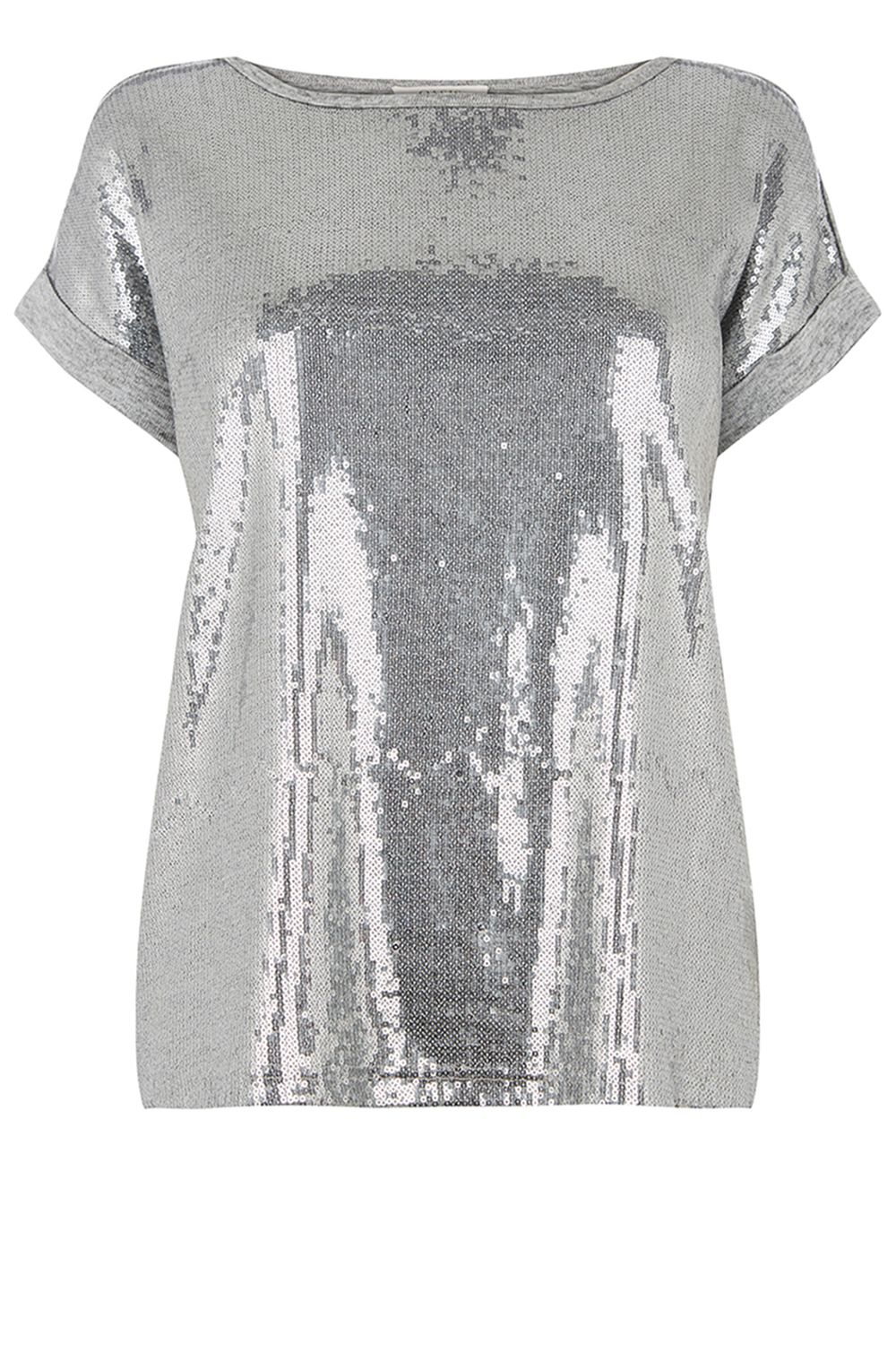 Oasis Sequin Panelled Tee, Grey