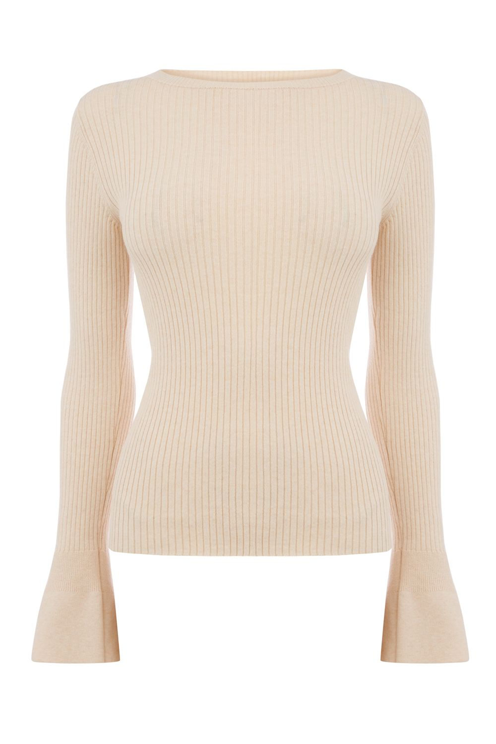 Oasis Rib Crew Fluted Sleeve Knit, Neutral