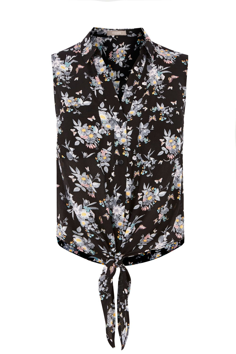 Oasis MARIE TIE FRONT SHIRT, Multi-Coloured