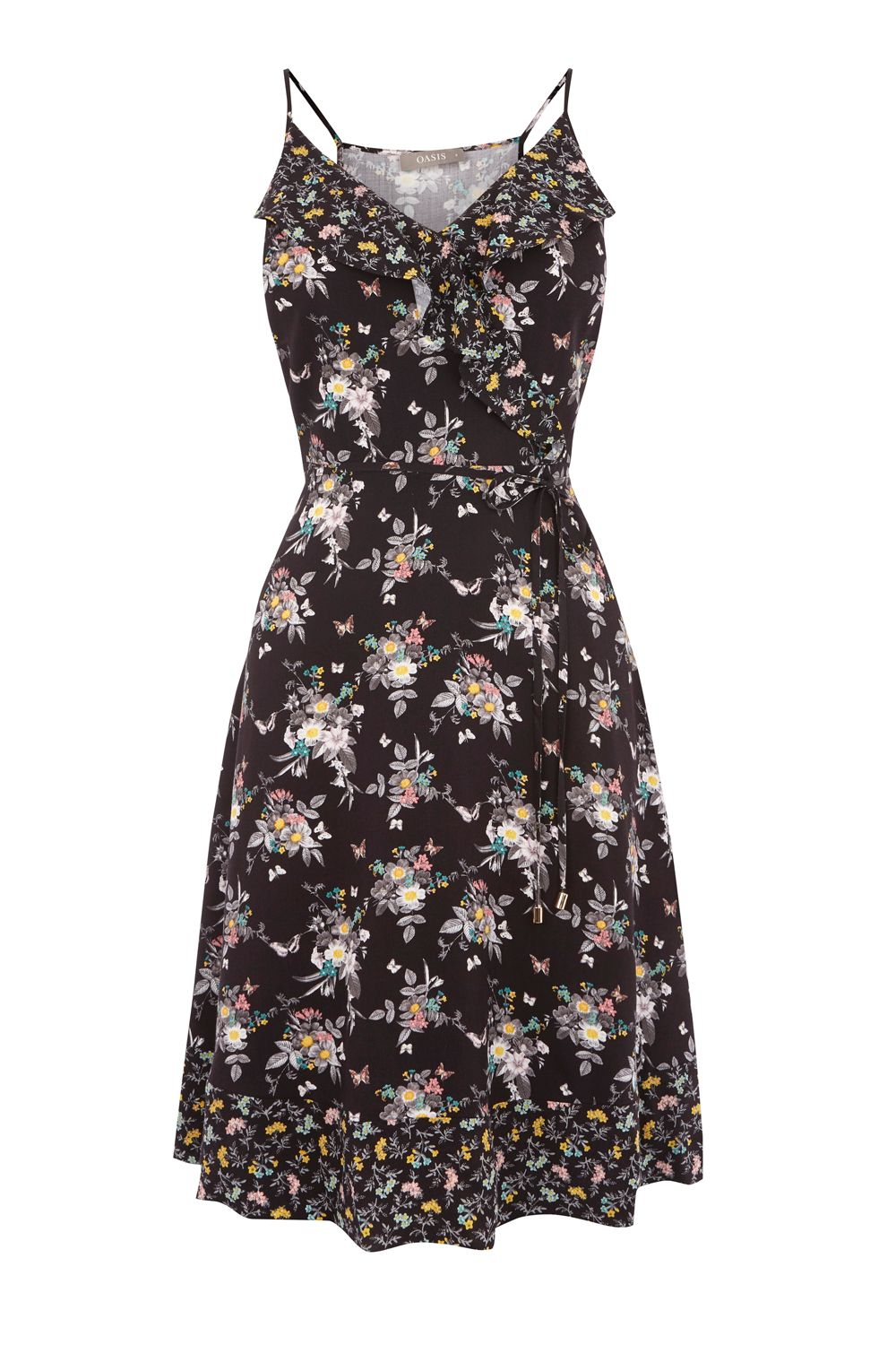 Oasis LONG PATCHED DITSY DRESS, Multi-Coloured