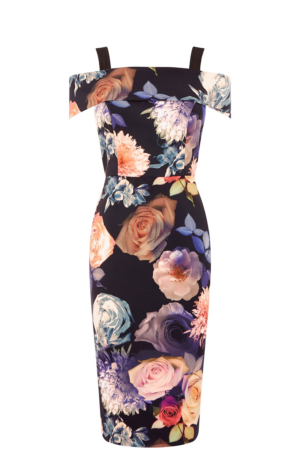 Oasis ROSE PRINT BARDOT PENCIL DRESS, Multi-Coloured