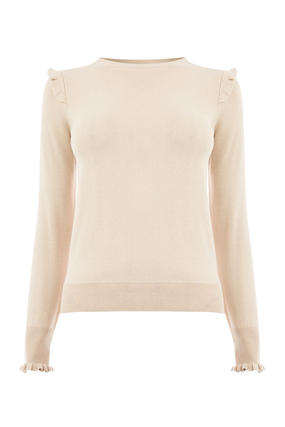 Oasis Frill shoulder and cuff knit, Neutral