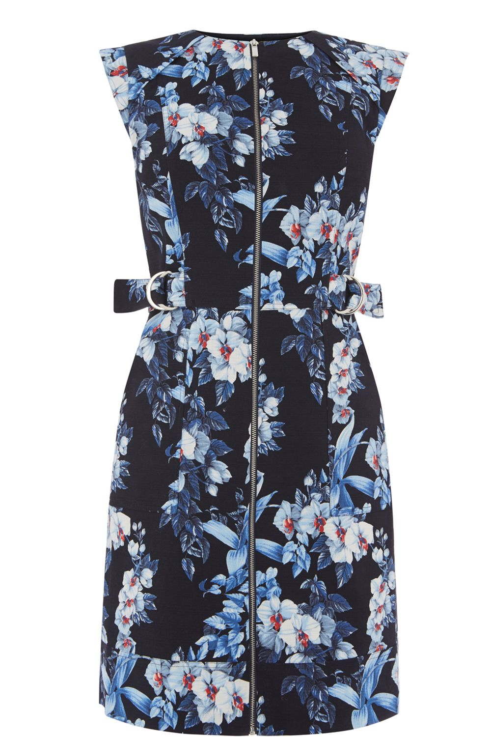 Oasis Tropical Orchid Shift Dress, Multi-Coloured